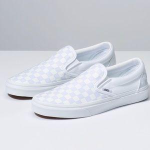 White Slip On Vans checkerboard 7.0 woman 5.5 men